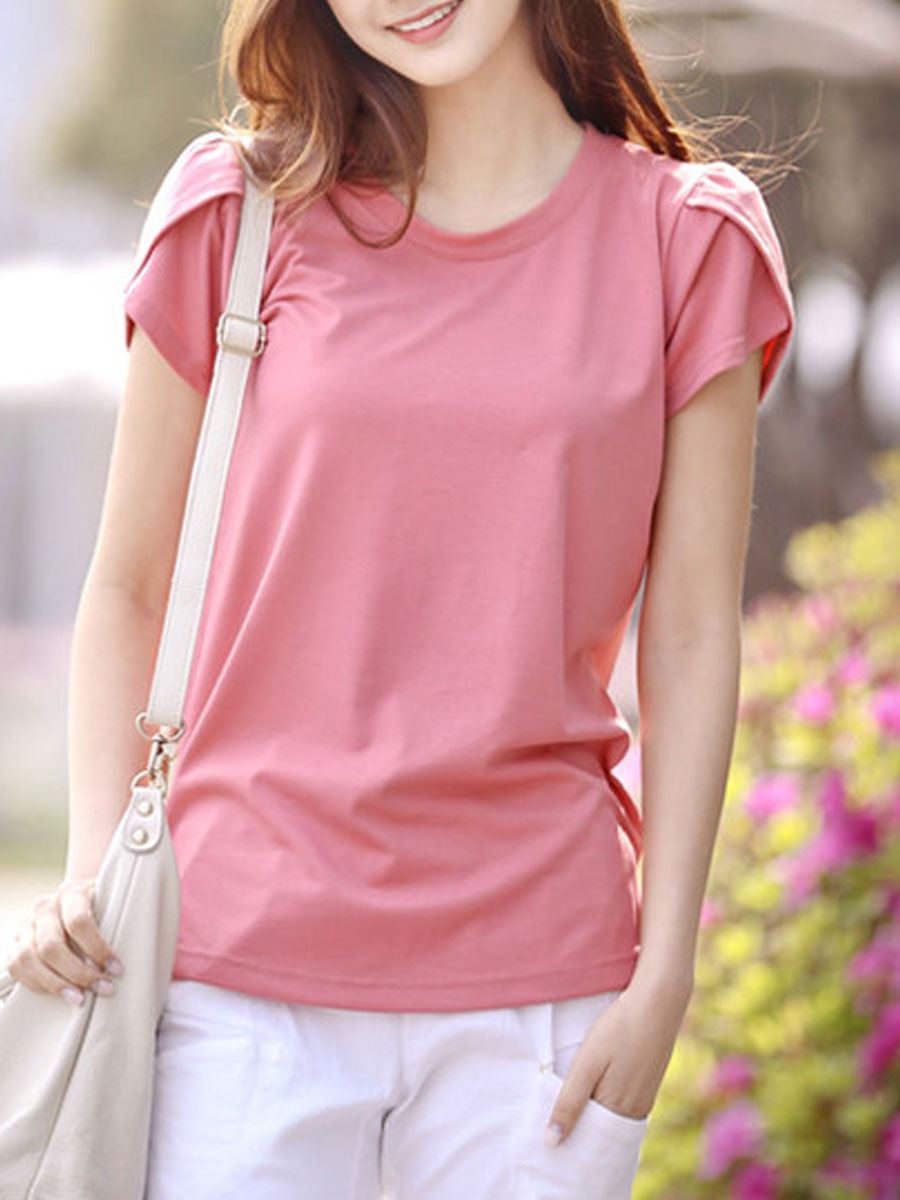 Summer Cotton Women Round Neck Slit Plain Short Sleeve T-Shirts