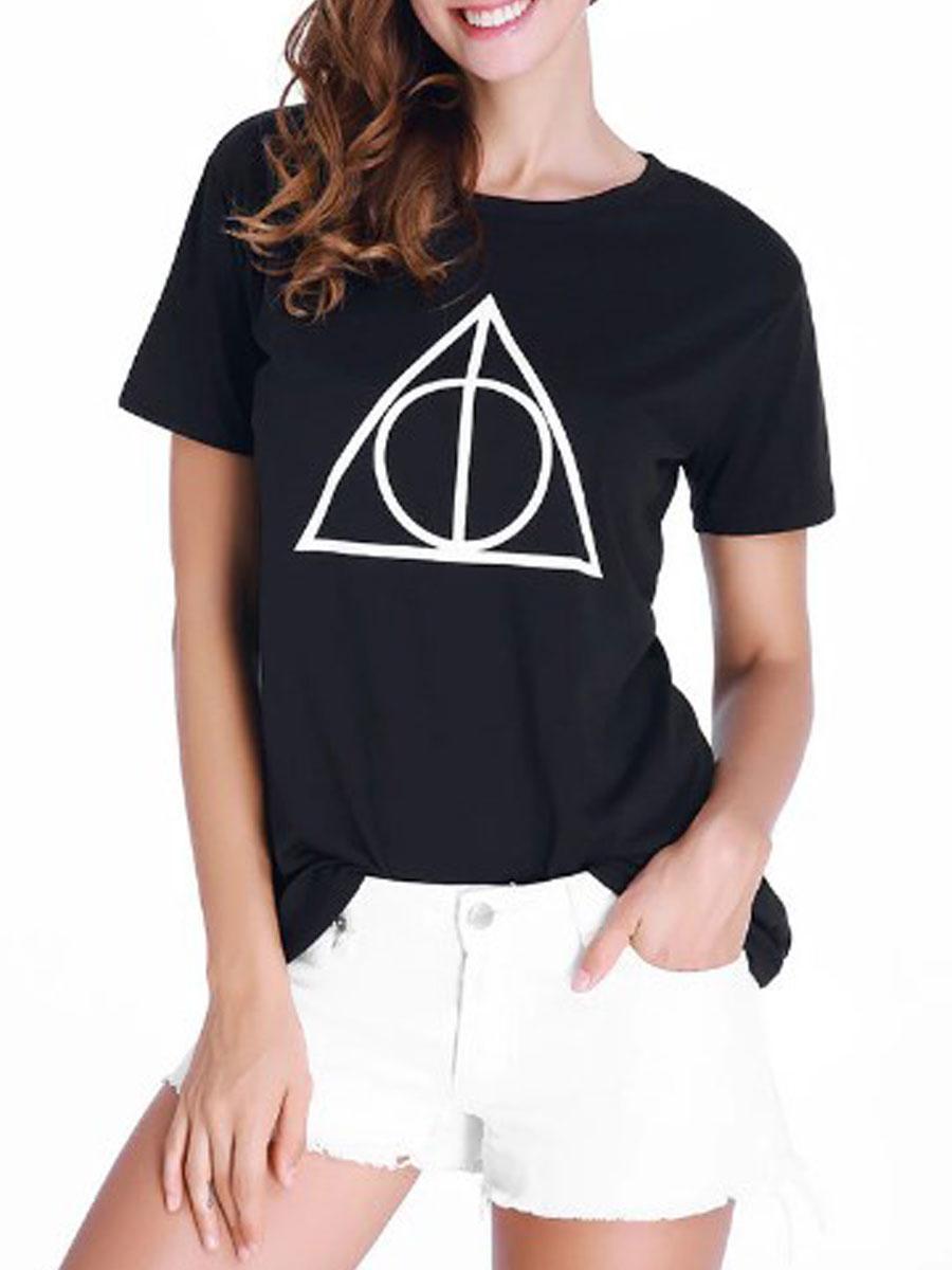 Summer Blend Women Round Neck Geometric Short Sleeve T-Shirts