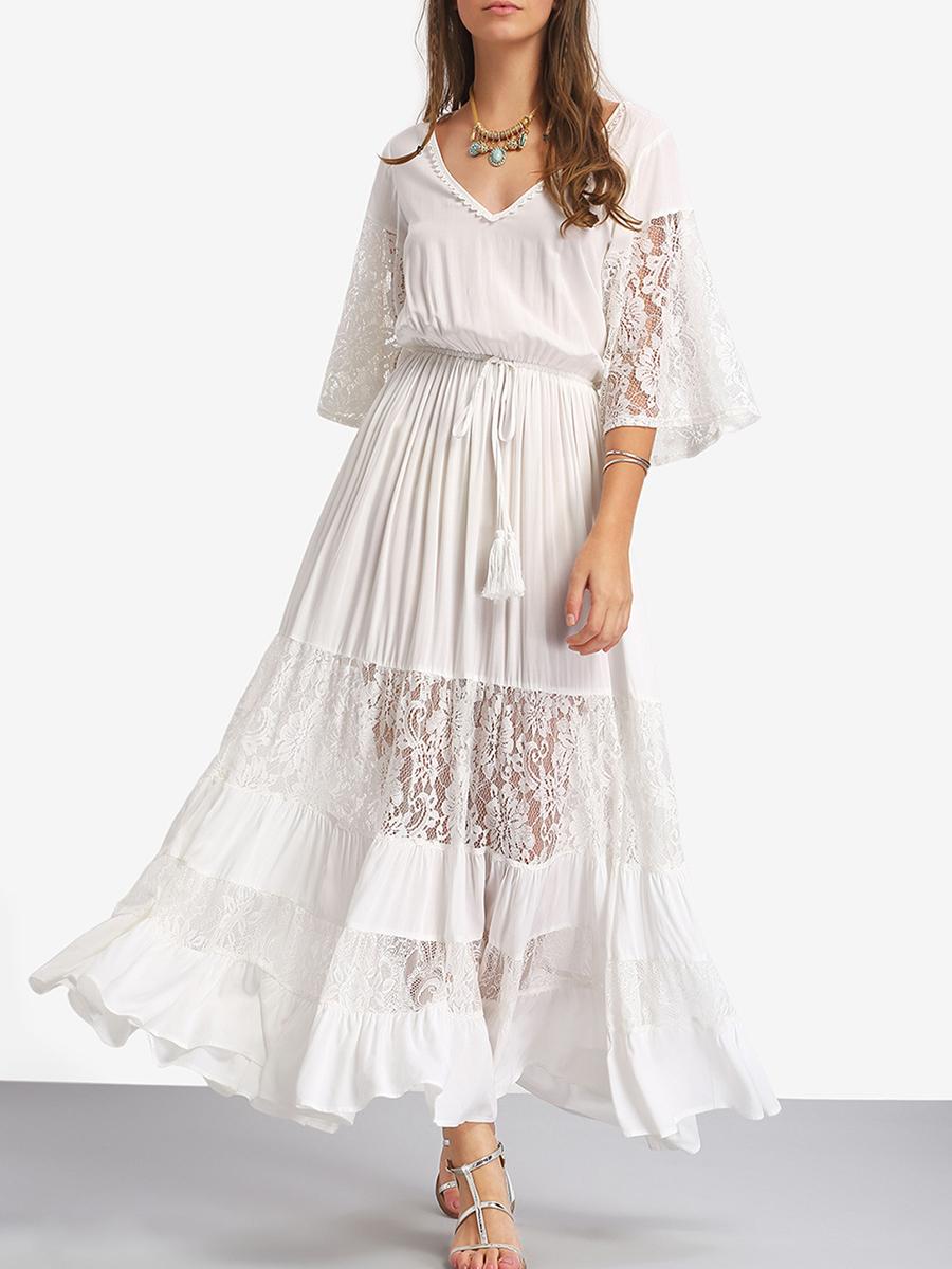 V Neck Patchwork Lace Maxi Dress